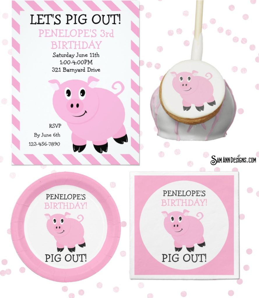 Personalized Pig Birthday Party