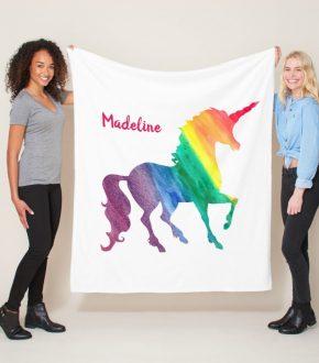 Rainbow Watercolor Unicorn Blanket