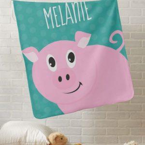 Adorable Pink Pig Stroller Blanket