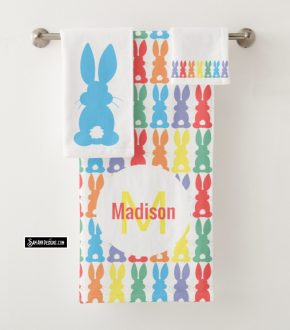 Bunny Pattern Towels From Zazzle